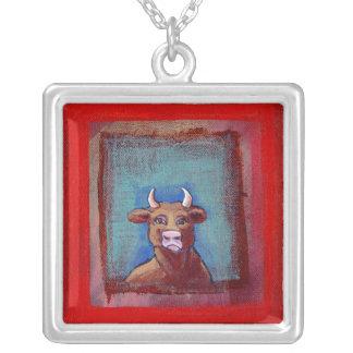 Mad Cow sad indignant upset emotional fun ART Custom Necklace