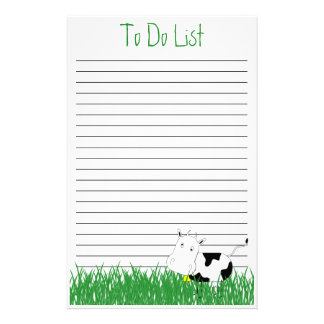 Mad Cow Stationery To Do List Template