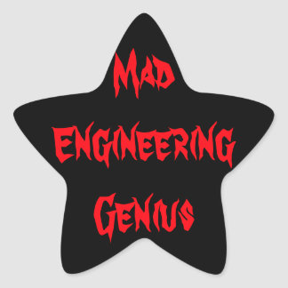 Mad Engineering Genius Geeky Geek Nerd Gifts Star Sticker