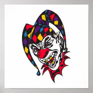 mad evil jester clown poster