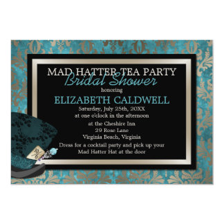 Mad Hatter Alice in Wonderland Bridal Shower 13 Cm X 18 Cm Invitation Card