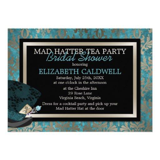 Mad Hatter Alice in Wonderland Bridal Shower Invites