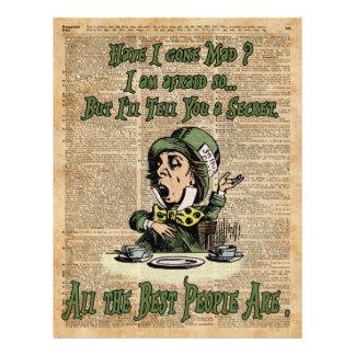 Mad Hatter,Alice In Wonderland,Quote Vintage Art 21.5 Cm X 28 Cm Flyer