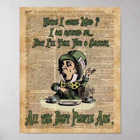 Mad Hatter,Alice In Wonderland,Quote Vintage Art Poster