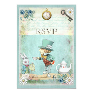 Mad Hatter Alice in Wonderland RSVP 9 Cm X 13 Cm Invitation Card
