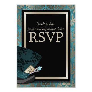 Mad Hatter Alice in Wonderland Wedding RSVP Card 9 Cm X 13 Cm Invitation Card