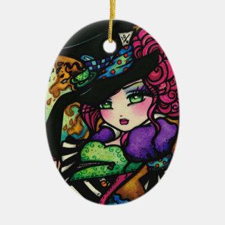 Mad Hatter Alice Wonderland Girl Fantasy Ceramic Oval Decoration