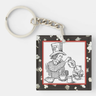 Mad Hatter and Dormouse Double-Sided Square Acrylic Key Ring