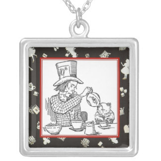 Mad Hatter and Dormouse Square Pendant Necklace