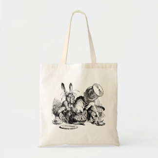 Mad Hatter and March Hare dunking the Dormouse Budget Tote Bag