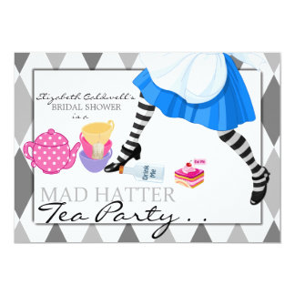 "Mad Hatter Bridal Shower Tea Party Invitation 5"" X 7"" Invitation Card"