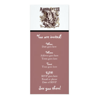 Mad Hatter Carnivale Style 10 Cm X 24 Cm Invitation Card