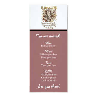 Mad Hatter Carnivale Style (with poem) 10 Cm X 24 Cm Invitation Card