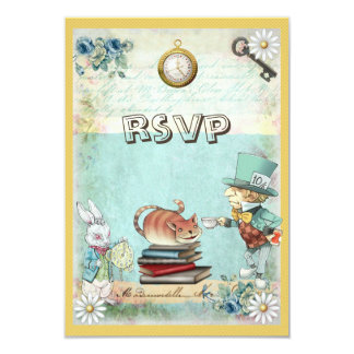 Mad Hatter & Cat RSVP Bring a Book Baby Shower 9 Cm X 13 Cm Invitation Card