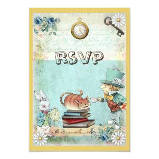 Mad Hatter & Cat RSVP Bring a Book Baby Shower 9 Cm X 13 Cm Invitation Card