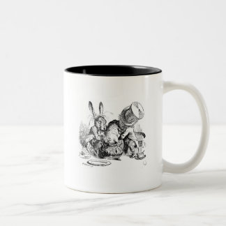 Mad Hatter, Dormouse and March Hare Two-Tone Coffee Mug