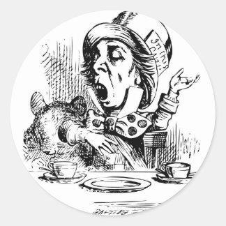 Mad Hatter engaging in rhetoric Round Sticker