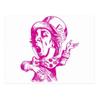 Mad Hatter Inked Pink Postcard