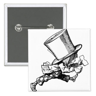 Mad Hatter just as hastily leaves 15 Cm Square Badge
