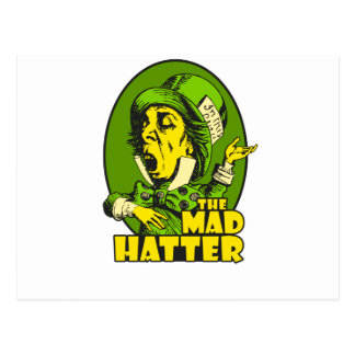 Mad Hatter Logo Yellow Green Postcard