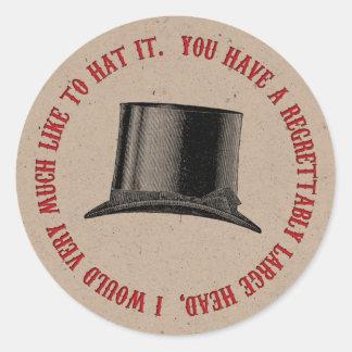 Mad Hatter Party Hat Quote Round Sticker