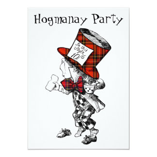 Mad Hatter Scottish Hogmanay Party Invitation Card