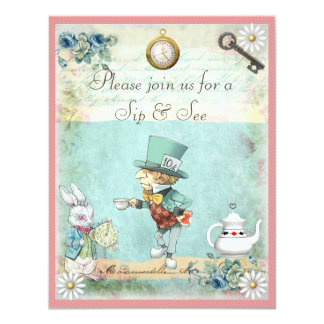 Mad Hatter Sip & See Baby Shower for Girls 11 Cm X 14 Cm Invitation Card