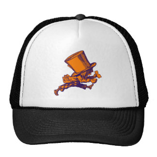 Mad Hatter Striding Right Inked Purple Orange Trucker Hats