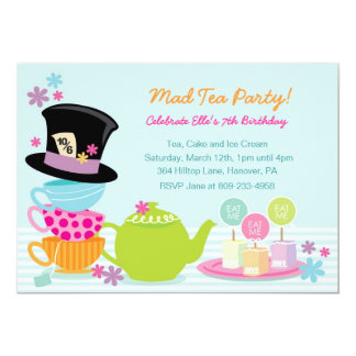 Mad Hatter Tea Birthday Party Invitations
