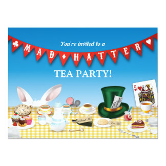 Mad Hatter Tea Party 17 Cm X 22 Cm Invitation Card