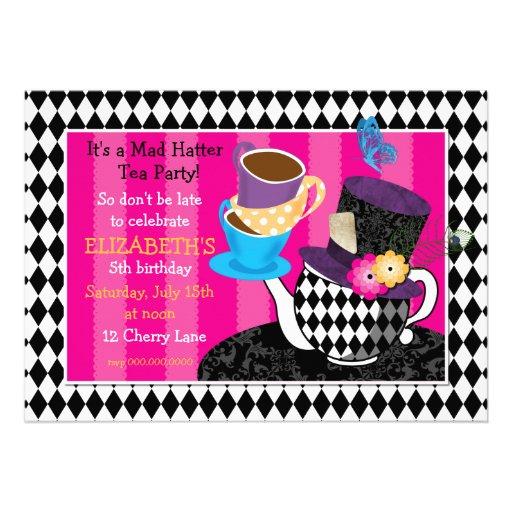 Mad Hatter Tea Party Birthday Invitation-diamond