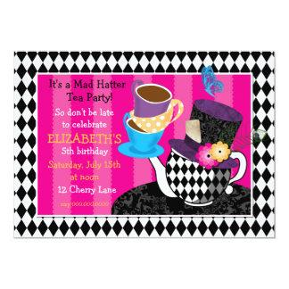 Mad Hatter Tea Party Birthday Invitation-diamond 13 Cm X 18 Cm Invitation Card
