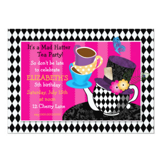 Mad Hatter Tea Party Birthday Invitation-diamond Card