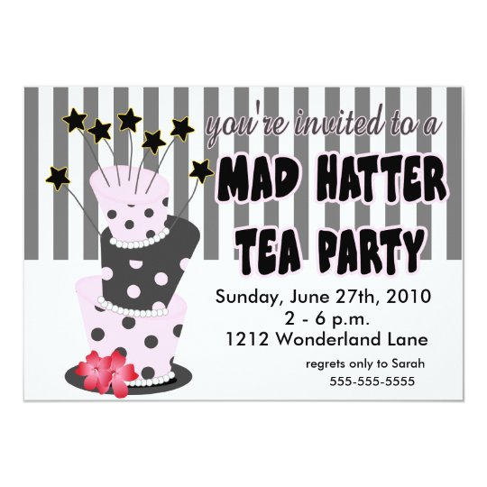 Mad Hatter Tea Party Card