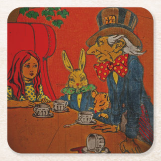 Mad Hatter Tea Party Square Paper Coaster