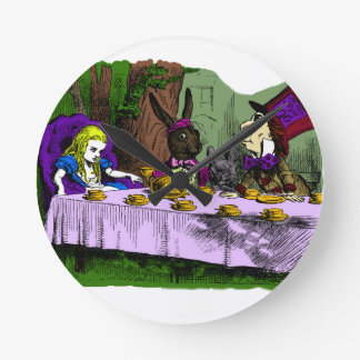 Mad Hatter Tea Party with Alice Round Clock
