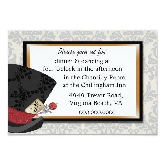 Mad Hatter Wedding Reception Card