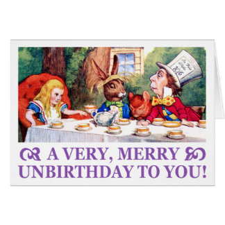 MAD HATTER WISHES ALICE A VERY MERRY UNBIRTHDAY! CARD
