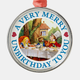 Mad Hatter Wishes Alice a Very Merry Unbirthday Christmas Ornament