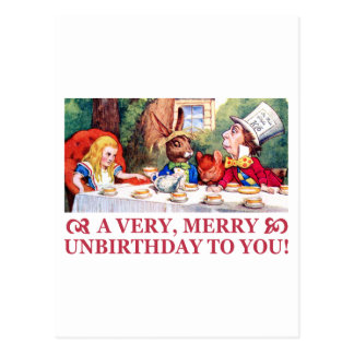 MAD HATTER WISHES ALICE A VERY MERRY UNBIRTHDAY! POSTCARD
