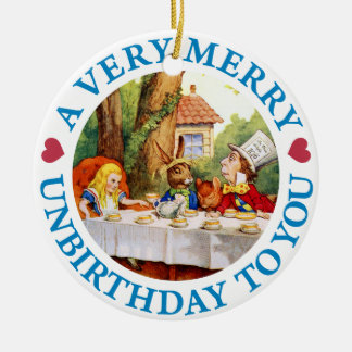 Mad Hatter Wishes Alice a Very Merry Unbirthday Round Ceramic Decoration