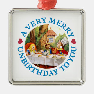 Mad Hatter Wishes Alice a Very Merry Unbirthday Silver-Colored Square Decoration