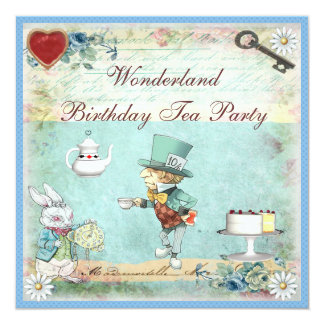 Mad Hatter Wonderland Birthday Tea Party Invites