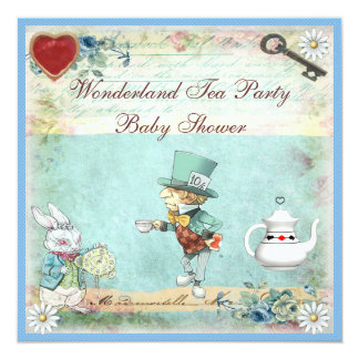 Mad Hatter Wonderland Tea Party Baby Shower 13 Cm X 13 Cm Square Invitation Card