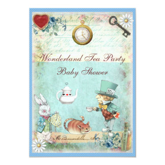 Mad Hatter Wonderland Tea Party Baby Shower 13 Cm X 18 Cm Invitation Card