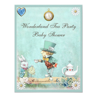Mad Hatter Wonderland Tea Party Baby Shower Personalized Announcement