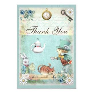 Mad Hatter Wonderland Tea Party Thank You 9 Cm X 13 Cm Invitation Card