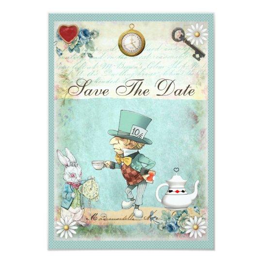Mad Hatter Wonderland Wedding Save The Date Card