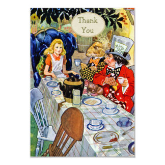 "Mad Hatter's Tea Party Baby Shower Thank You 3.5"" X 5"" Invitation Card"