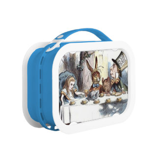 Mad Hatters Tea Party Blue Pastels Lunch Box